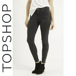Topshop Moto Jamie washed black ankle zip jeans
